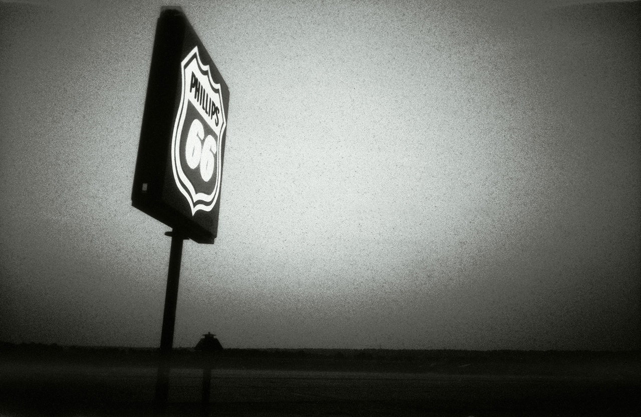 PHILLIPS 66 ROAD SIGN © Chris Bartlett. Black and white framed print - iconic Route 66 sign, USA