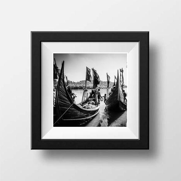 Gift inspiration: 'Fishing Boats' Bangladesh © Jason Florio. BW traditional wooden fishing boats