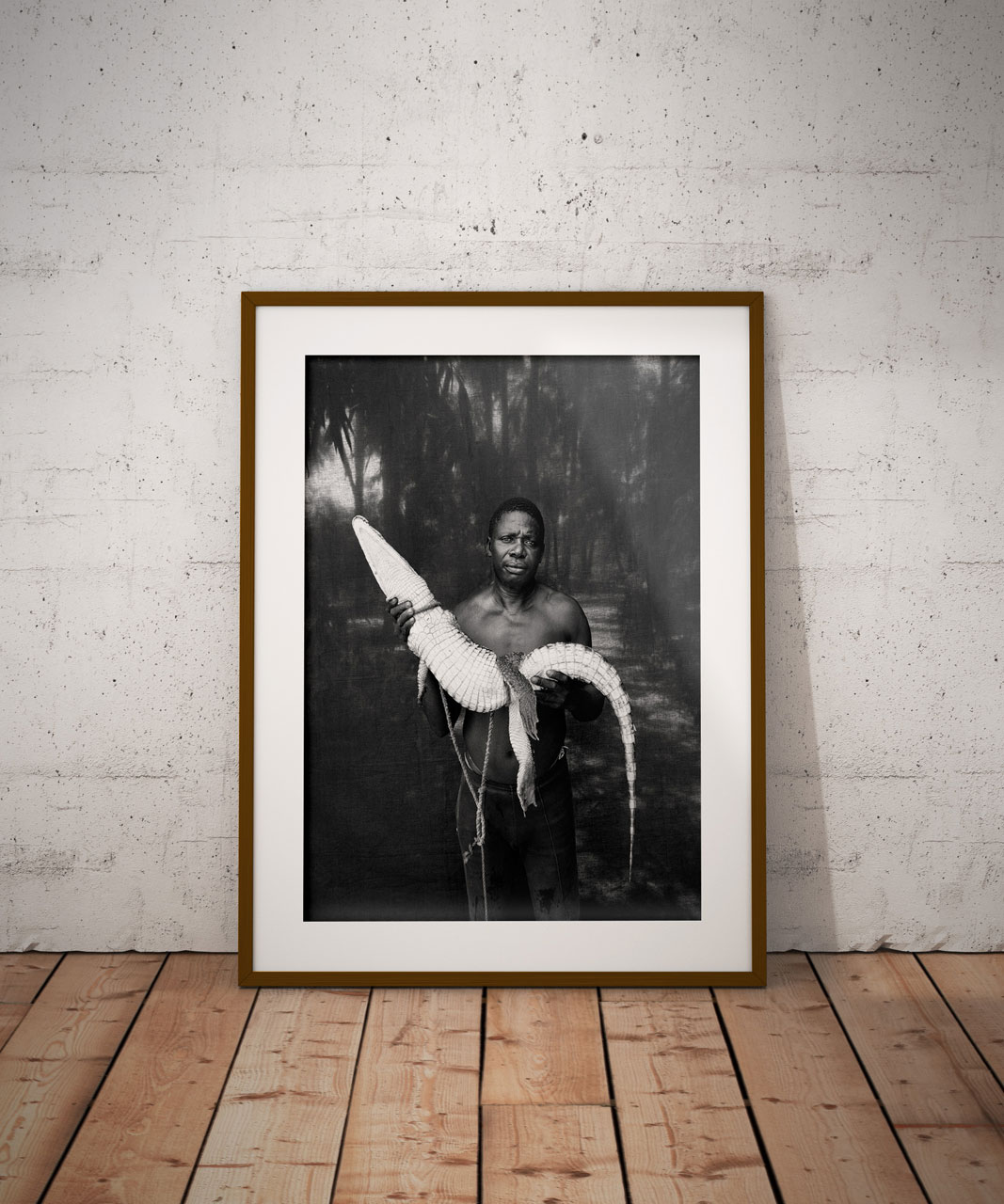©Jason Florio. BW framed print - portrait 'Abdou with Rescued Crocodile' Gambia, West Africa