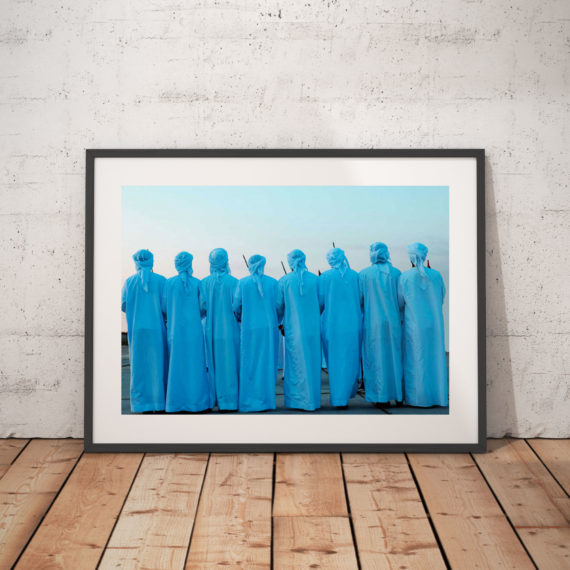 'CEREMONIAL DANCE' BEIRUT ©Jason Florio-color men in blue robes, backs to camera, lined up