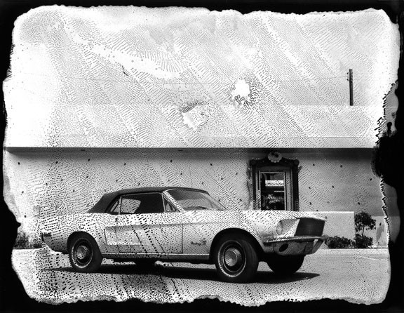 #1 Mustang Los Angeles 1986 © Michel Delsol ©Michel Delsol. BW Polaroid - vintage car