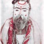©OSKAR LANDI 'SARDHU INDIA' portrait. Color - framed print. Polaroid. Holy Man.