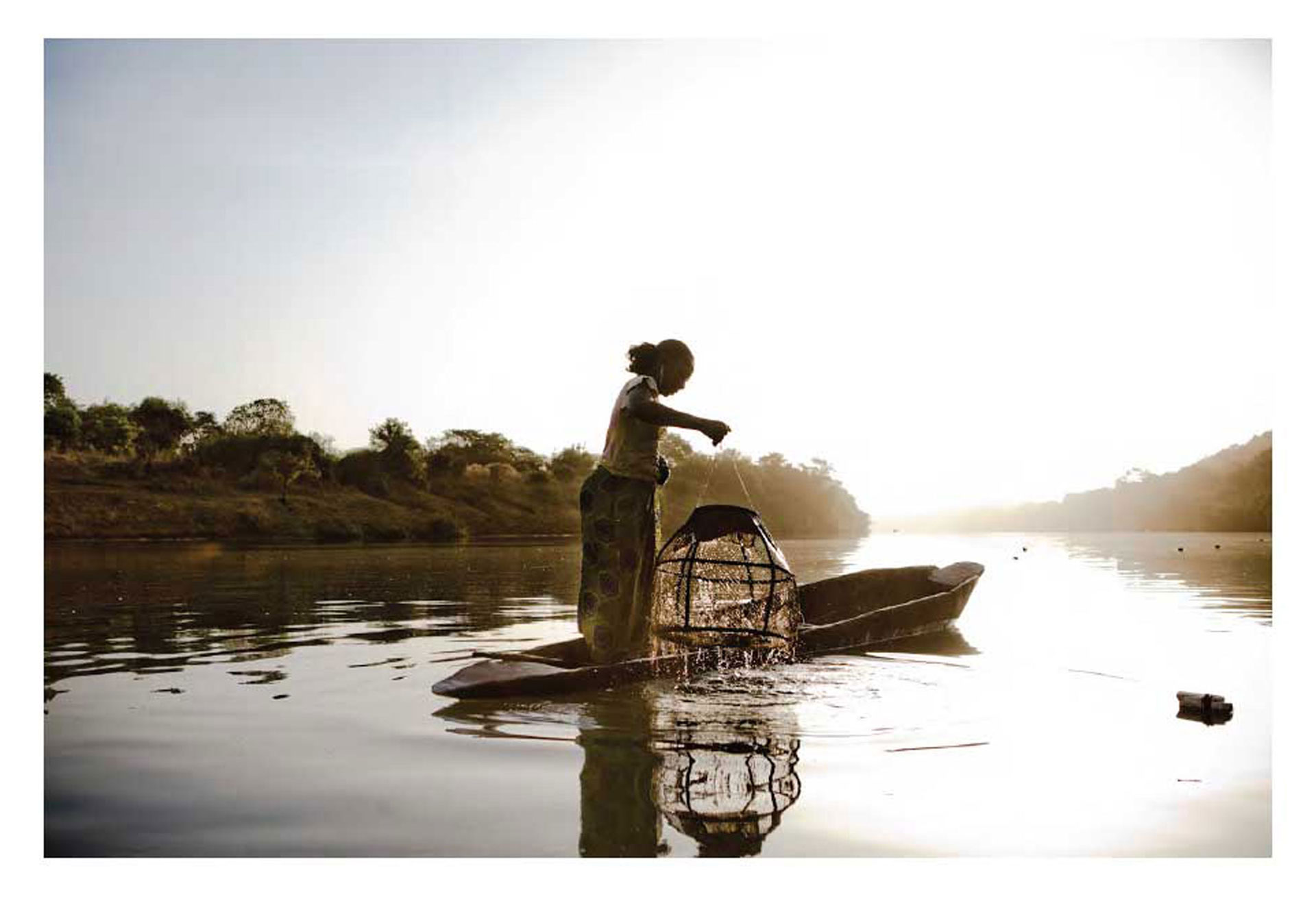 Photography Prints Gallery - 'Malian Fisher Woman'© Jason Florio. Color-dawn, woman lifts fishing cage out of River Gambia, West Africa,