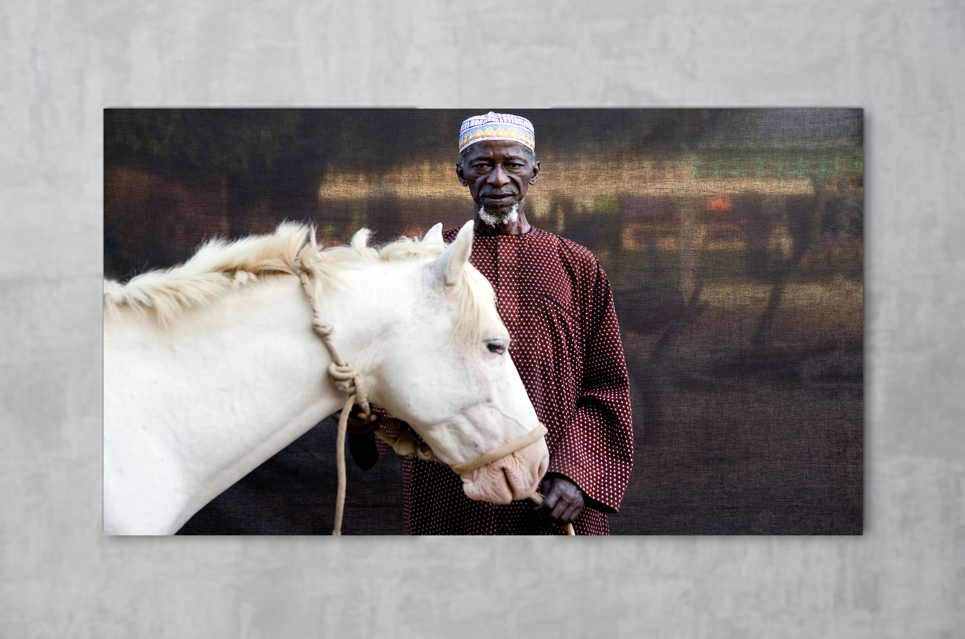 Portraits Gambian Village Chiefs & Elders - 'Herouna with his White Horse' ©Jason Florio - available to purchase from the HJF gallery