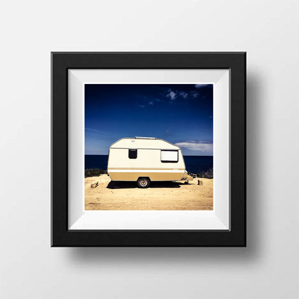 'Caravan Malta' Color image of an old caravan & the Mediterranean sea, Malta ©Helen Jones-Florio