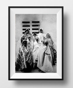 Black and white print of a group of young Gambian boys, covered, at ceremony, Gambia 'COMING OF AGE (RITUAL)' © Jason Florio