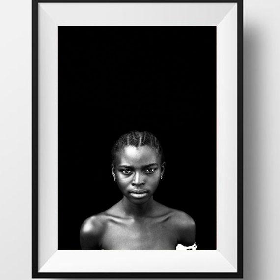 Black and white portrait pretty young black girl, Gambia, W Africa 'IDA, STUDENT', © Jason Florio