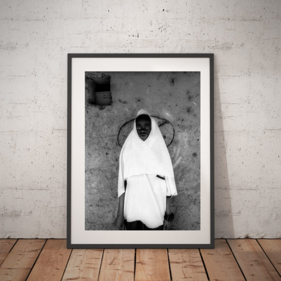 Black and white print of young muslim girl, Gambia 'KORANIC SCHOOL GIRL' © Jason Florio