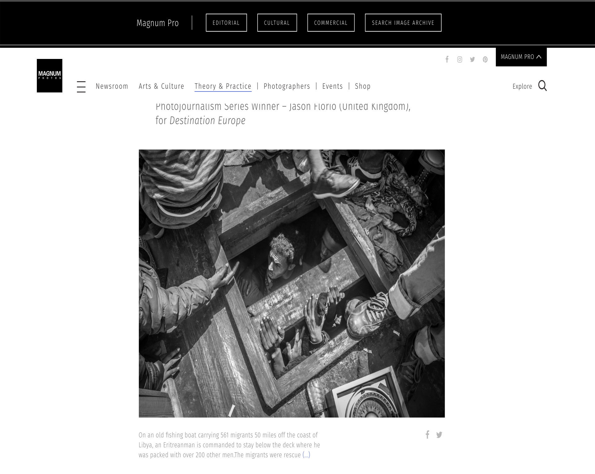 MAGNUM PHOTOGRAPHY AWARDS 2017 - JASON FLORIO PHOTOJOURNALISM WINNER. Migrants crawl from the lower decks of smugglers boat