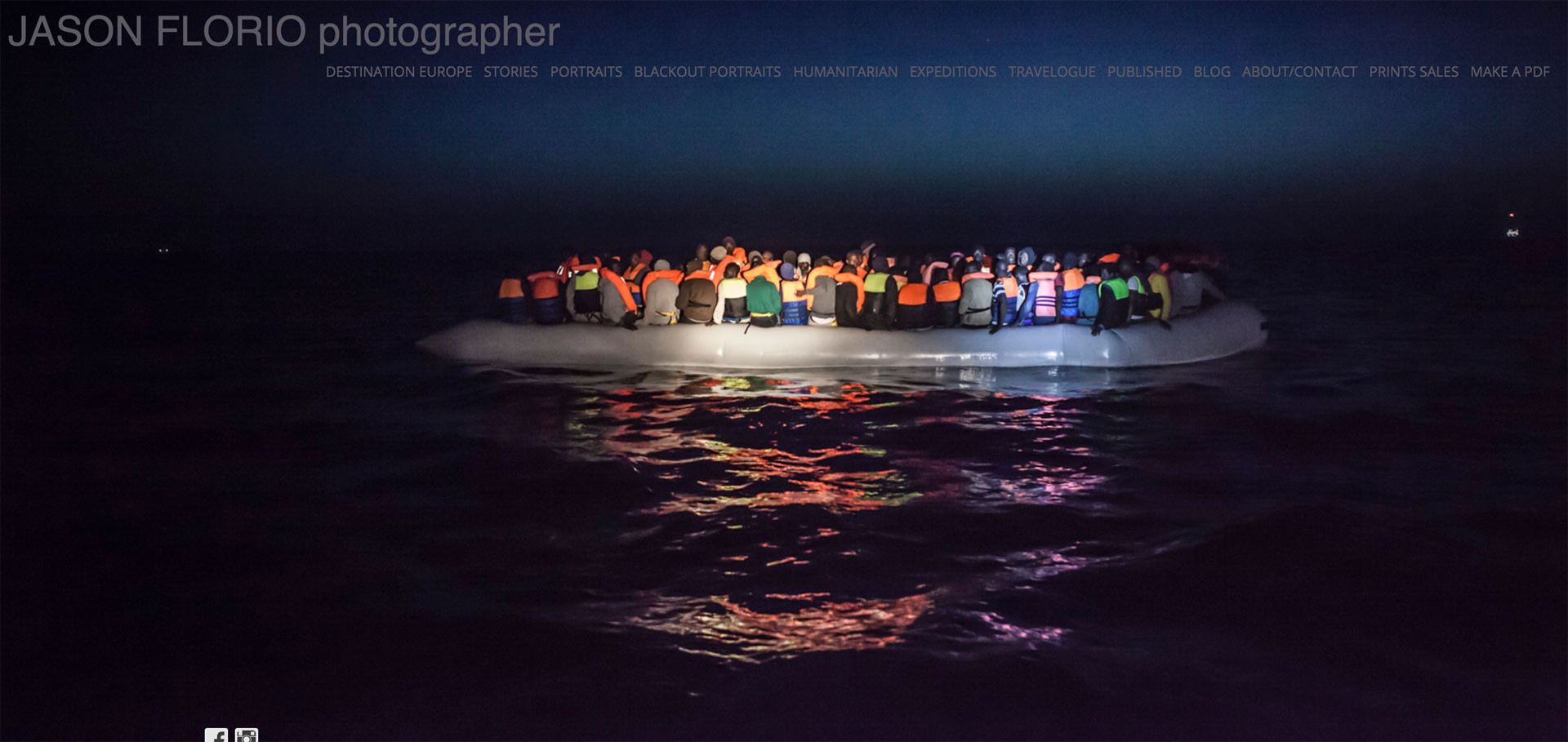 Jason Florios new website live! Migrants spotted in a dinghy in the Mediterranean Sea at night, post-rescue by MOAS NGO