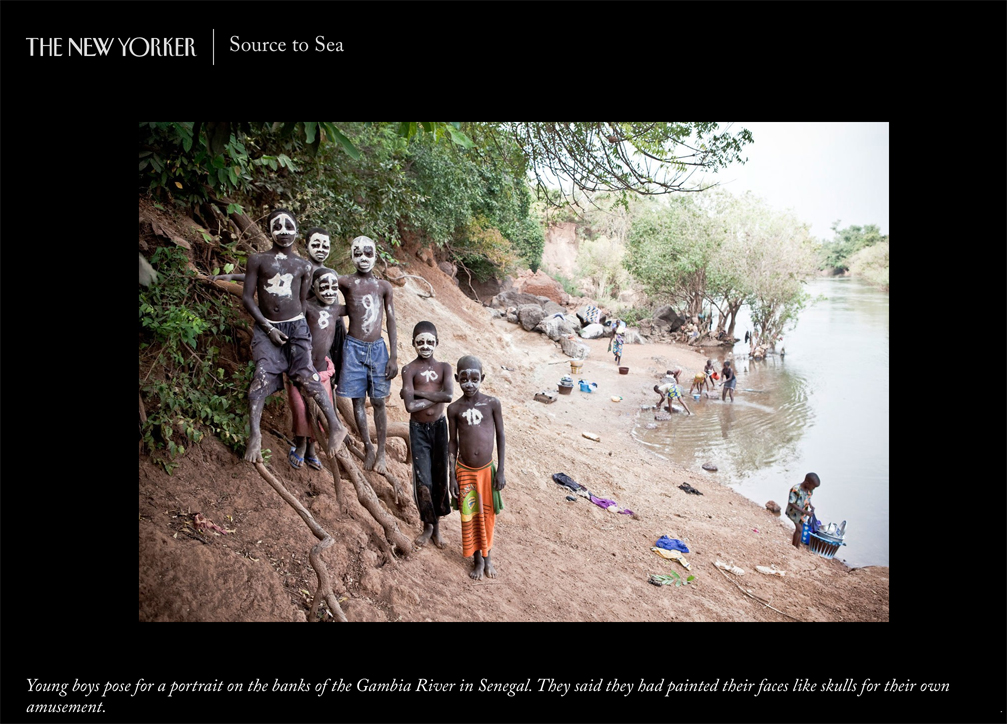 Photography Prints Gallery - 'Source to Sea' The New Yorker, by Amber Terranova. Image of young boys with painted faces ©Jason Florio, River Gambia