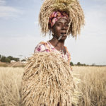 'Rice Lady' 2012 © Jason Florio - photography prints. Woman stands in a rice field carrying rice bushel on her head, The Gambia, West Africa