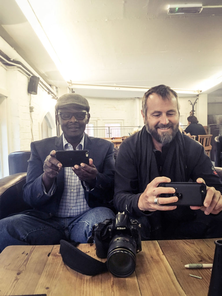 The photographer meets the photographer - Vanley Burke and Jason Florio - Birmingham, 2016 © Helen Jones-Florio