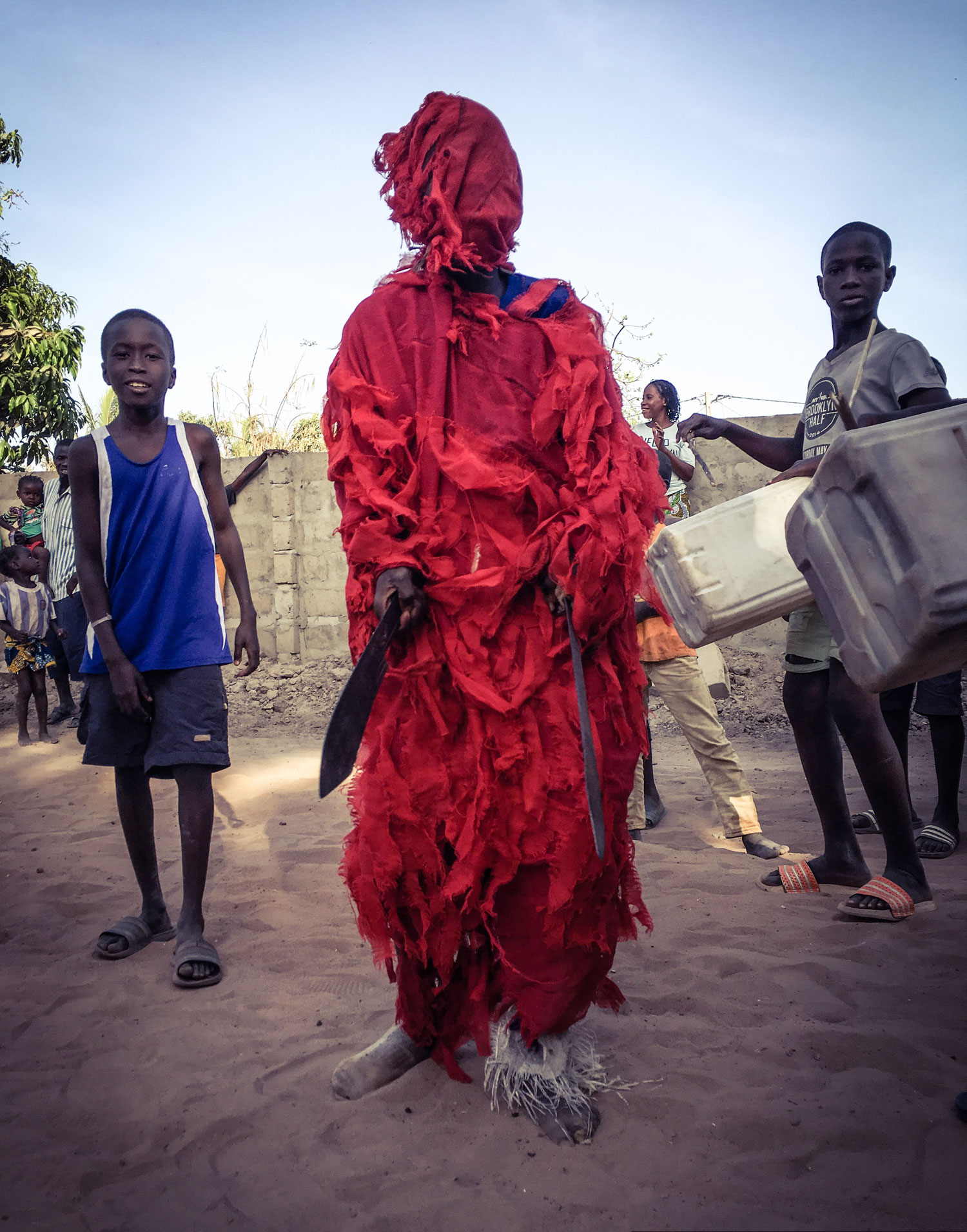 Kankurang with machetes - Traditional Masquerade, The Gambia © Helen Jones-Florio