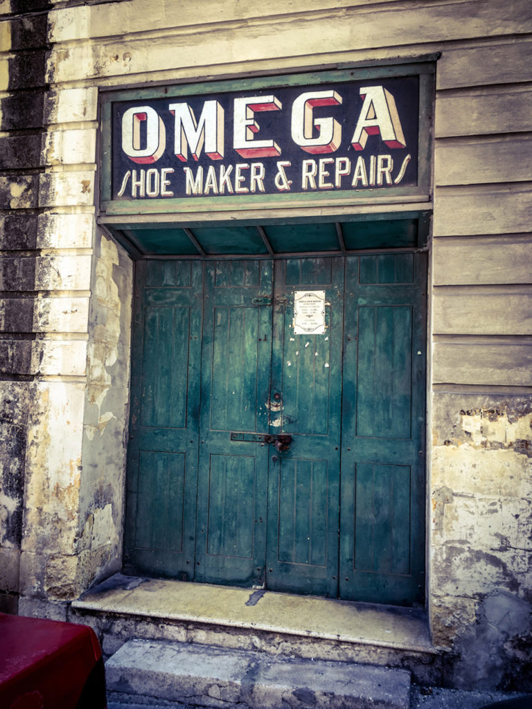 disappearingMalta - Vintage storefront 'Omega Shoe Maker & Repairs', Bormla, Malta ©Helen Jones-Florio photography prints