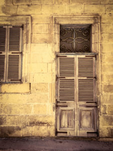 disappearingMalta - Vintage shuttered wooden doors and window, Bormla, Malta ©Helen Jones-Florio photography prints