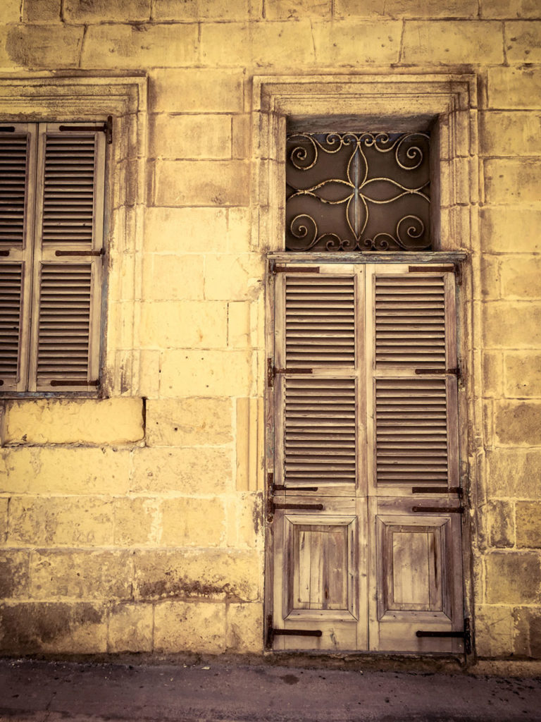 disappearingMalta - Vintage shuttered wooden doors and window, Bormla, Malta ©Helen Jones-Florio photography prints