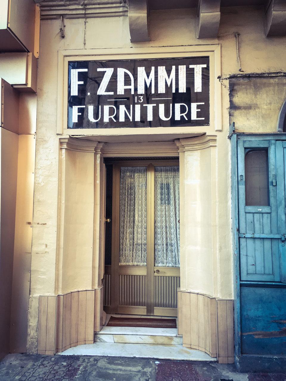 disappearingMalta - F.Zammit Furniture, Triq Hal Qormi, Hamrun, Malta - vintage storefront ©Helen Jones-Florio photography prints