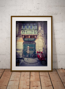 disappearingMalta - Vintage storefront, green wooden doors and motorcyle Malta ©Helen Jones-Florio photography prints