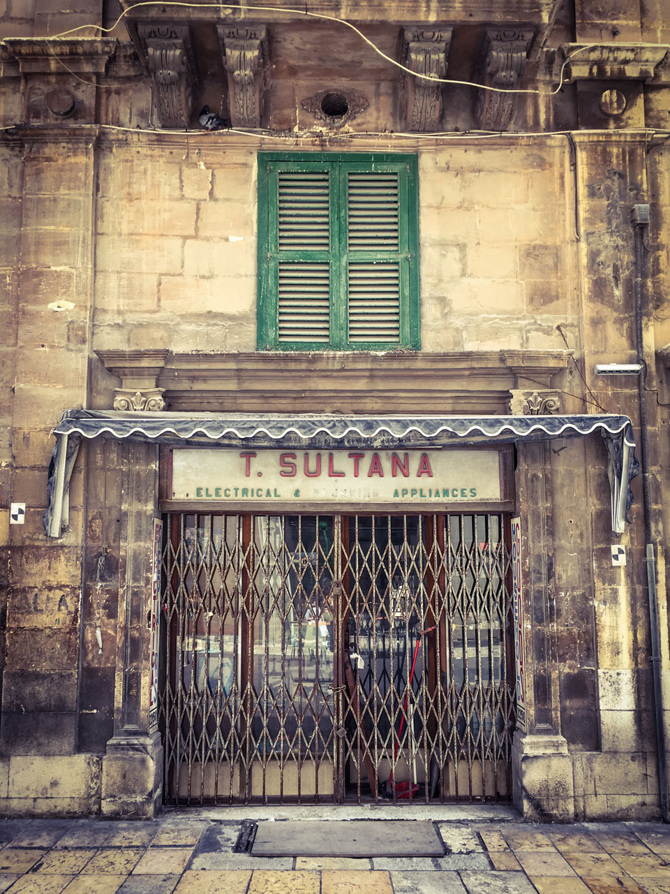 disappearingMalta - T. Sultana Electrical Appliances, retro storefront, Valletta, Malta ©Helen Jones-Florio photography prints