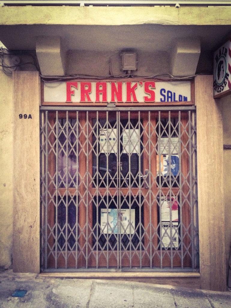 Doors - 'Franks Salon', shuttered storefront hairdressers, Valletta, Malta ©Helen Jones-Florio #disappearingmalta