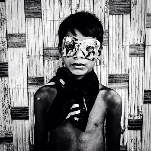 Holiday Gift Ideas - photography prints by Jason Florio BW portrait of 'Boy in Mask' Burma
