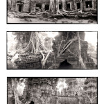 ©Jason Florio - Angkor Wat #3, Cambodia. BW - temple ruins triptych
