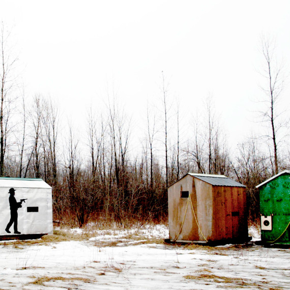 ©Jason Florio ' Ice Fishing Sheds, Canada'. Color- 3 sheds in a wintery field