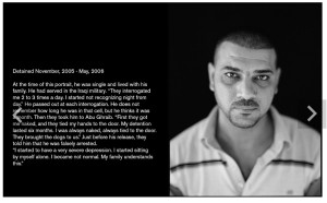 CHRIS BARTLETT photography - portrait of a male Iraqi detainee, from Guantanamo Bay, with text about the man's time there