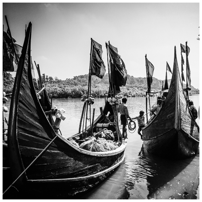 'Fishing Boats 2' Bangladesh © Jason Florio. BW traditional wooden fishing boats
