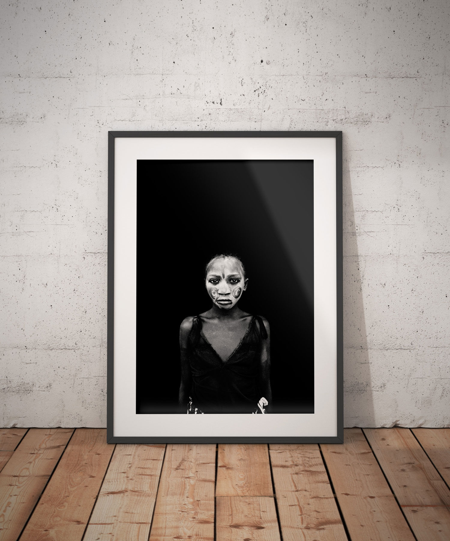 Makasutu - Jason Florio. PAINTED FACE (COMING OF AGE), The Gambia, West Africa. Black and white portrait print