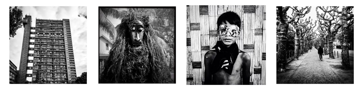 Four images of black and white prints 'Trellick Tower' West London; 'Agomalah' traditional masquerade, W.Africa; 'Boy in Mask' Burma; 'Corridor of Trees'