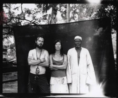 The Black Backdrop - Jason Florio & Helen Jones-Florio, with Mr NDong, The Gambia. The backdrop used for Florio's 'Blackout Portraits'