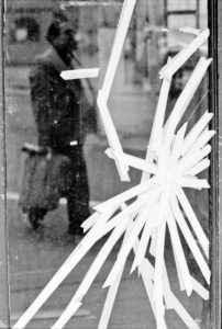 'Taped Up Window' Greenwich Village, NYC, 1979 - black and white photography prints © Jeff Rothstein