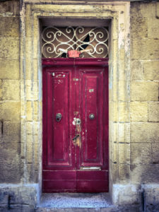 disappearingMalta - 'Viking Helmet' red door, Bormla, Malta ©Helen Jones-Florio photography prints