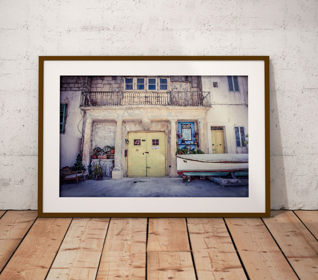 disappearingMalta - The Shrine, yellow doors, and sail boat, Pieta, Malta ©Helen Jones-Florio photography prints