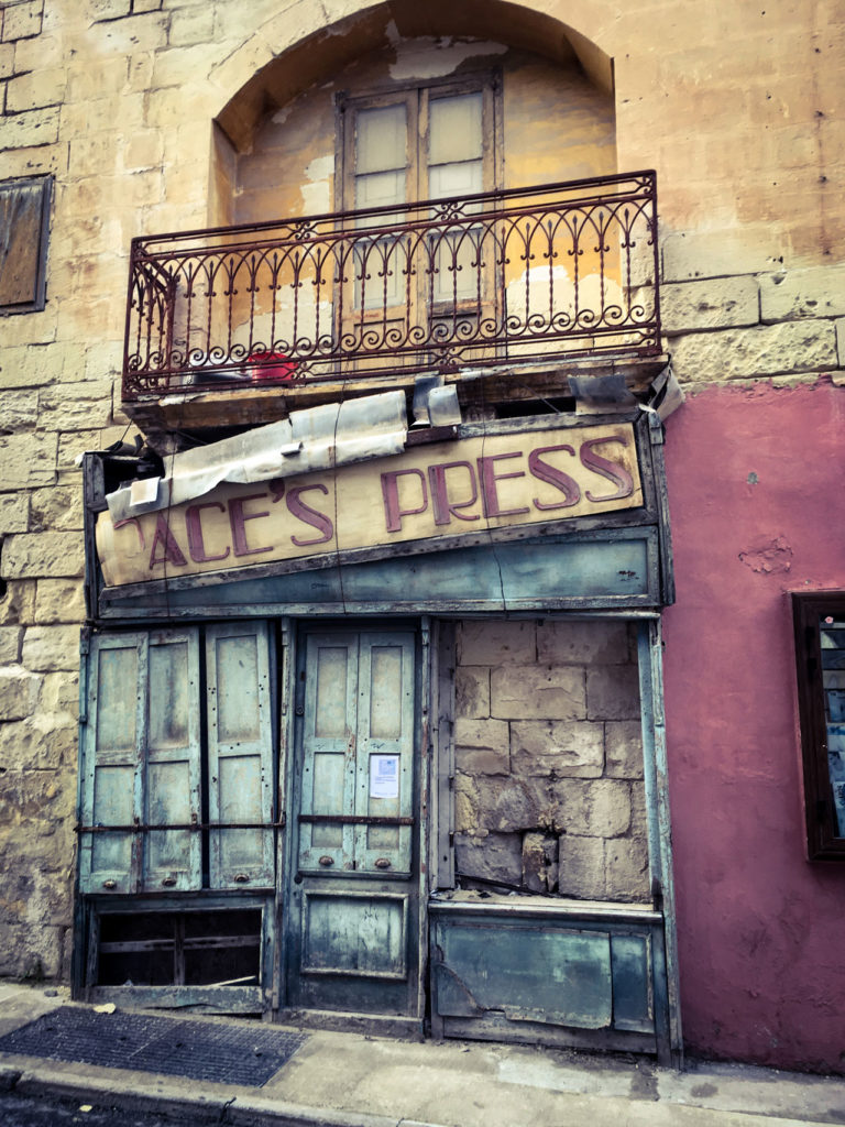 DisappearingMalts - 'Paces Press' vintage storefront, Sliema, Malta ©Helen Jones-Florio photography prints MaltaDoors
