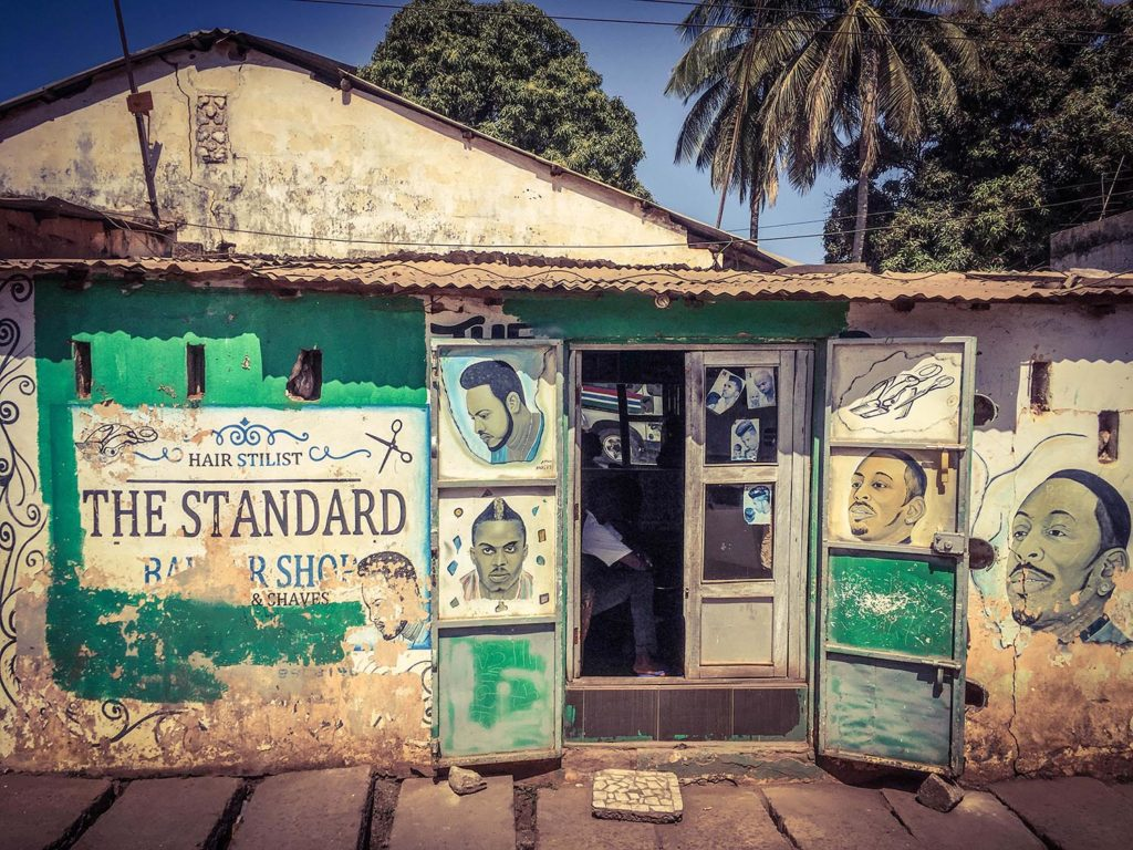 Gambia Doors - 'The Standard Barber Shop', shopfronts and doors of The Gambia, West Africa. Image ©Helen Jones-Florio