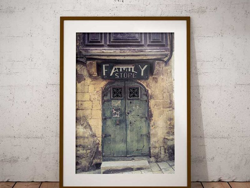 Doors and Storefronts: Framed print of storefront called 'Family Store', in Valletta, Malta. Photography prints by Helen Jones-Florio #DisappearingMalta series