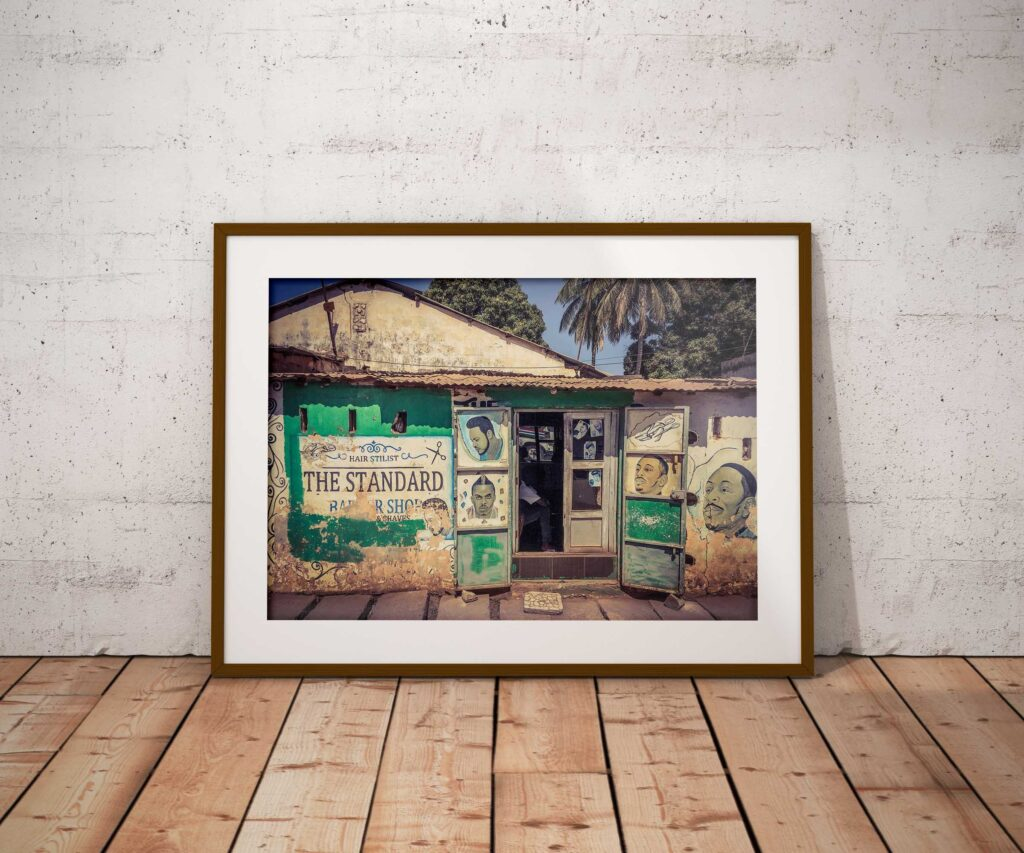 Gambia Doors - framed photography print of 'The Standard Barber Shop', The Gambia, West Africa. Image ©Helen Jones-Florio