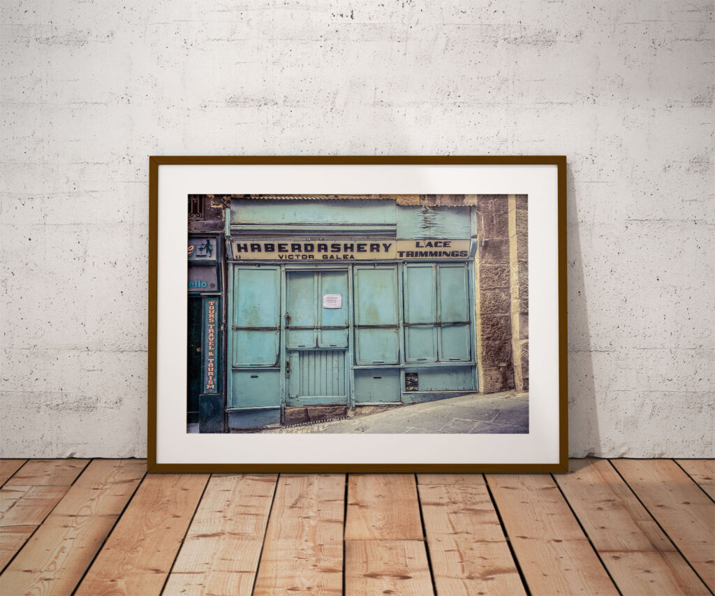 A vintage storefront in Valletta, Malta - 'Victor Galea Haberdashery' - framed colour photography print ©Helen Jones-Florio