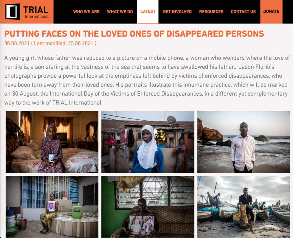 Press - Jason Florio: Trial International - Portraits fo the victims of Yahya Jammeh, ex-president of The Gambia ©Jason Florio